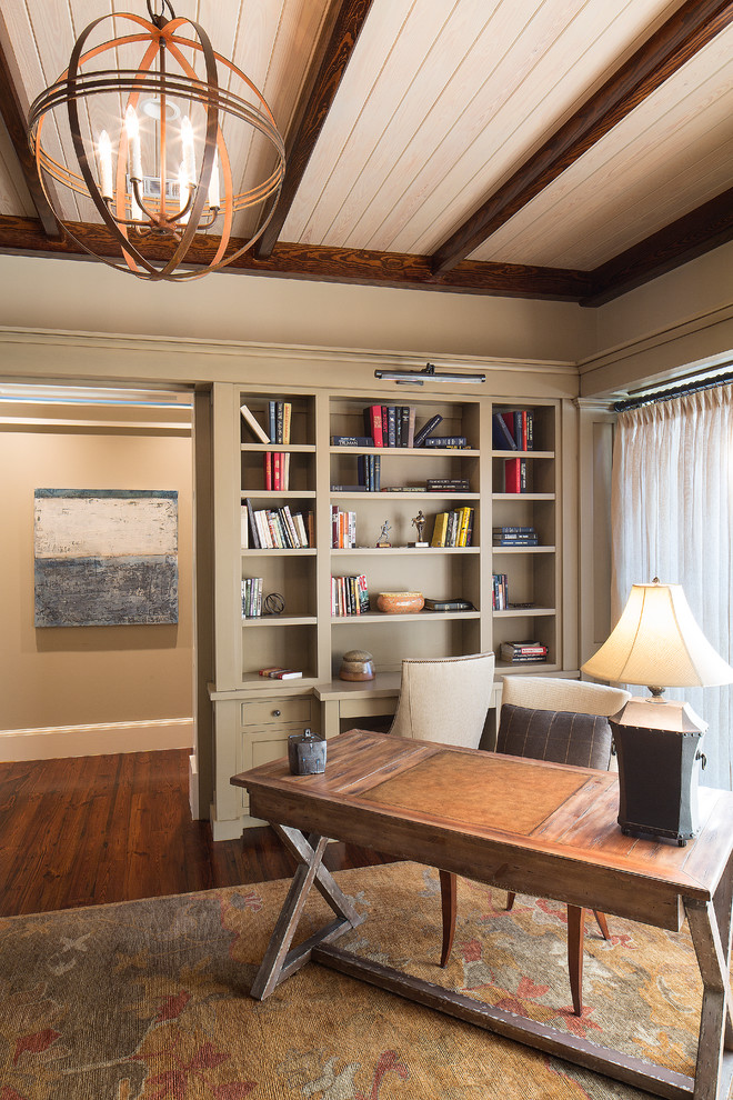 hooker desk Home Office Traditional with Atkins beam Beaufort Bluffton books bookshelf bright brown built in bookshelves causal