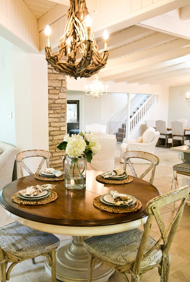 Hooker Furniture Outlet Dining Room Shabby Chic with Beige Armchair Beige Dining Table Beige Wall Casual Dining Ceiling Beams Chandelier