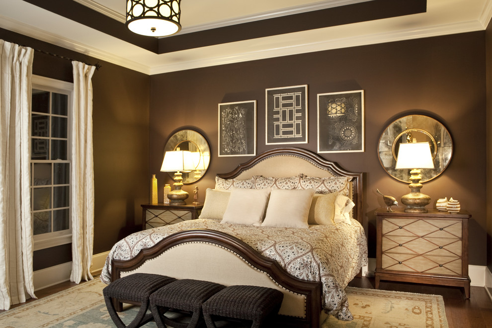 Hooker Office Furniture Bedroom Transitional with Accessories Art Bedding Benches Browns and Golds Chests Chocolate Brown Room Columbia