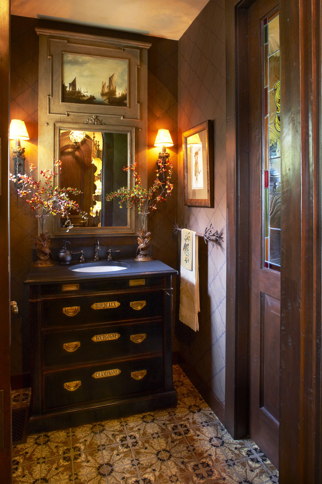 Hooker Office Furniture Powder Room Traditional with Bathroom Mirror Black Vanity Custom Vanity Dark Walls Dark Wood Encaustic Tile