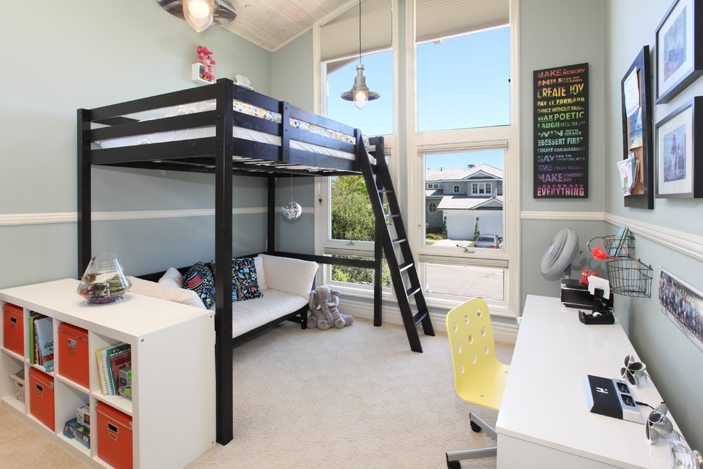 horizontal bookcase Kids Tropical with beige carpet black bunk bed bulletin board bunk bed ladder bunk bed