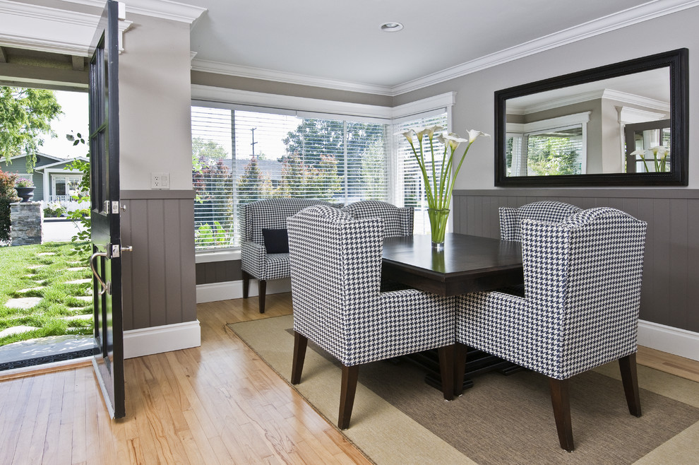 Houndstooth Chair Dining Room Contemporary with Black and White Chair Black Frame Mirror Dark Brown Dining Table Front