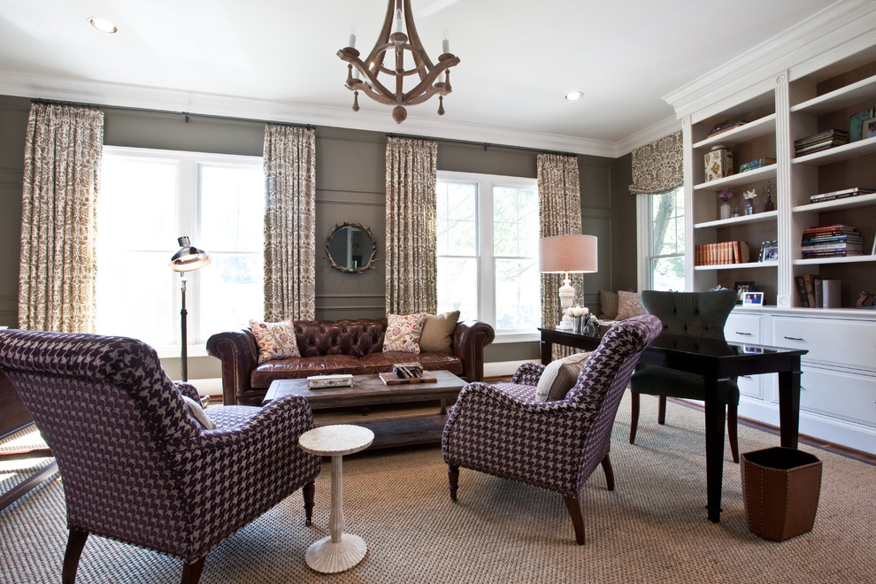 Houndstooth Chair Home Office Eclectic with Chesterfield Hounds Tooth Oly Chandelier Study Wall Paneling