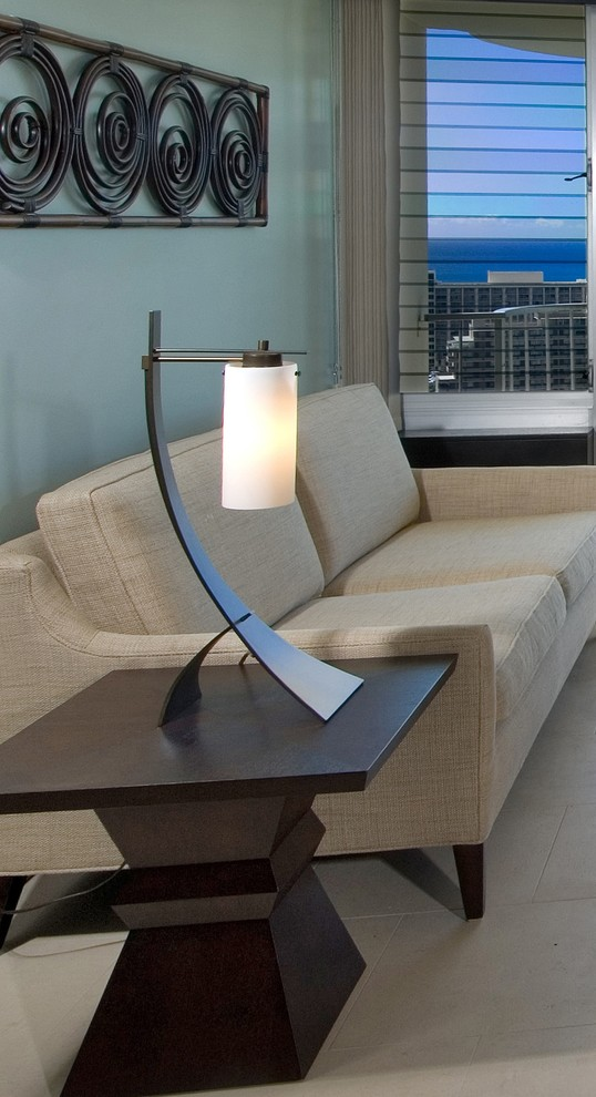 Hubbardton Forge Living Room Contemporary with Blue Wall Curtains Drapes End Table Side Table Table Lamp Wall Decor