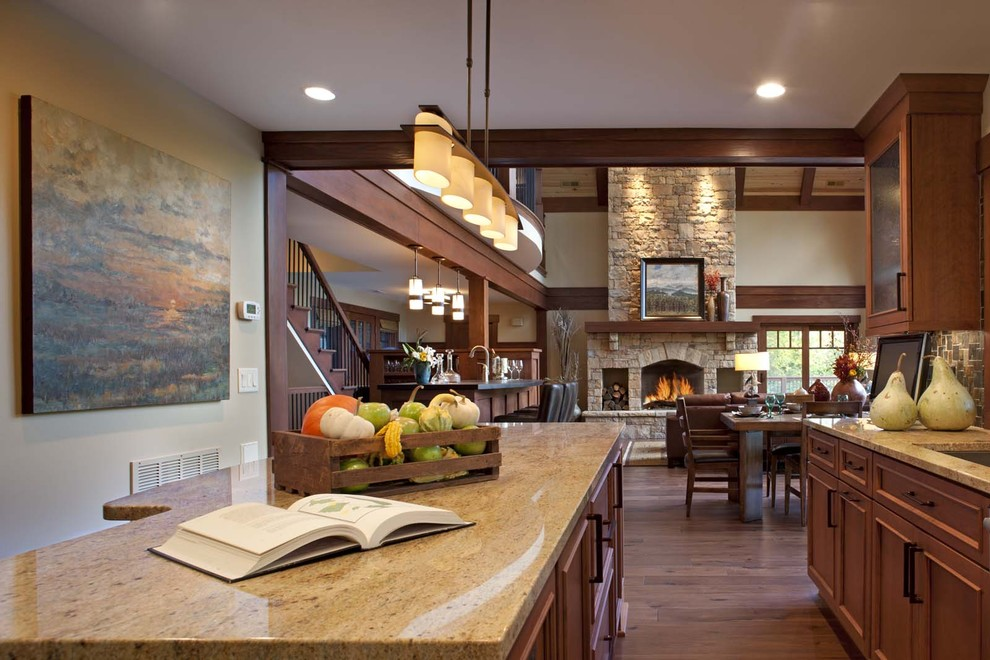 hubbardton forge Spaces Contemporary with Alder cabinetry art in kitchen Arts Crafts arts crafts kitchen bronze cherry
