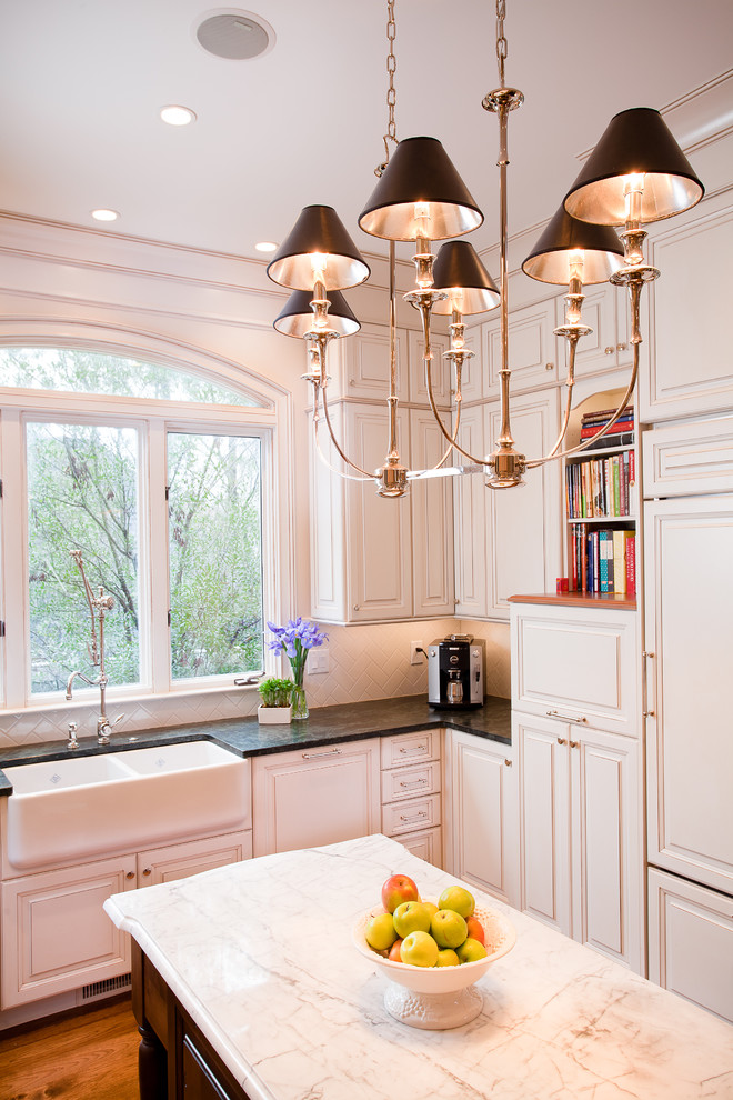 Hudson Valley Lighting Kitchen Traditional with Arched Window Chandelier Custom Farmhouse Sink Faucet Limestone Marble Shelves Speaker Stone