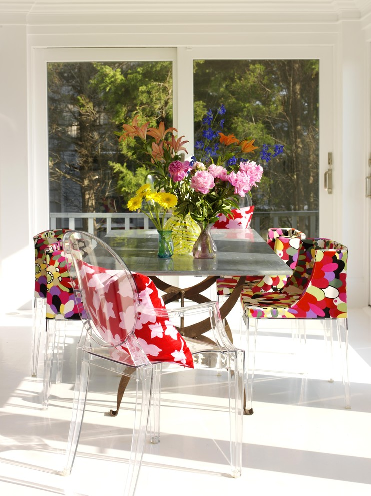Human Touch Perfect Chair Dining Room Shabby Chic with Bold Color Bright Color Centerpiece Flowers Indoor Outdoor Kartell Lucite Mademoiselle Chair Metal