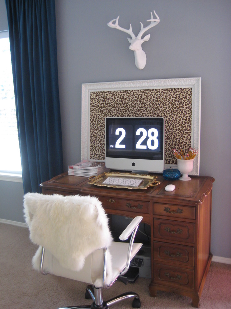 Humanscale Keyboard Tray Home Office Eclectic with Curtains Desktop Drapes Leopard Print Office Chair Sheepskin Rug Stag Wall Art