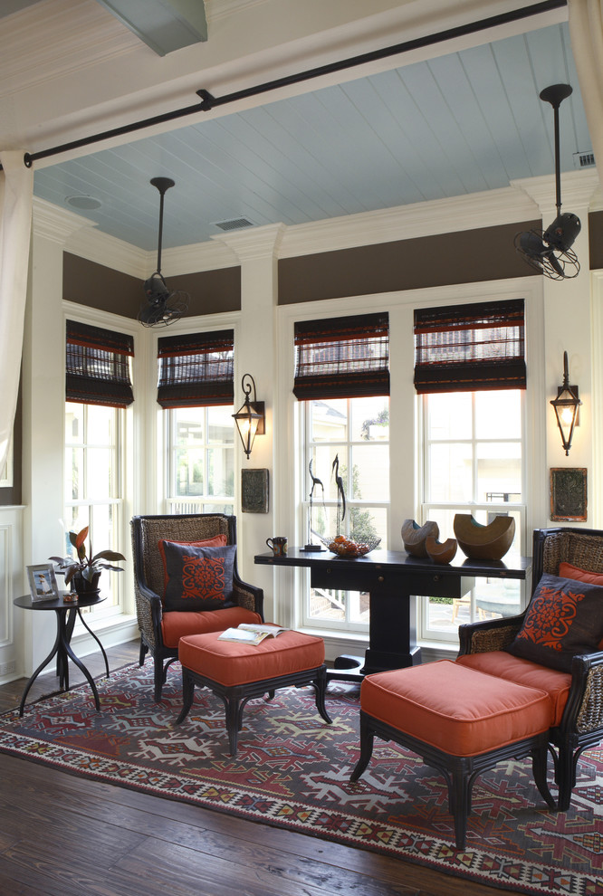 Hunter Fan Light Kit Family Room Traditional with Area Rug Blue and Brown Ceiling Fan Console Table Curtains Dark Floor