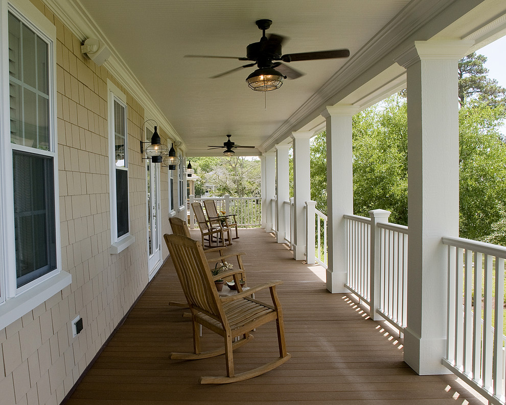hunter fan light kit Porch Traditional with ceiling fan deck handrail lanterns outdoor lighting patio furniture rocking chairs shingle