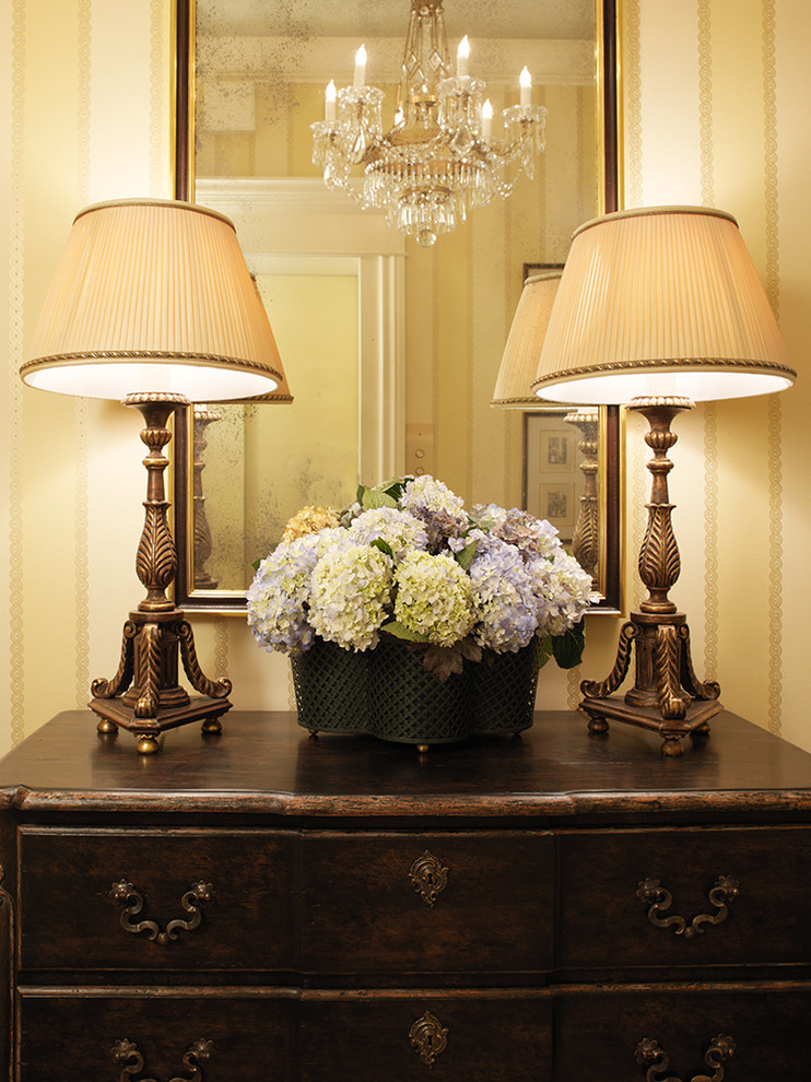 hydrangea arrangements Entry Traditional with antique bureau chandelier chest of drawers dresser entry entry hall fabric lampshade