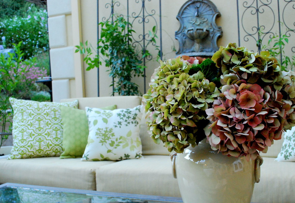 Hydrangea Arrangements Patio Traditional with Beige Couch Exterior Furniture Fountain Green Hydrangeas Neutral Colors Outdoor Furniture Outdoor