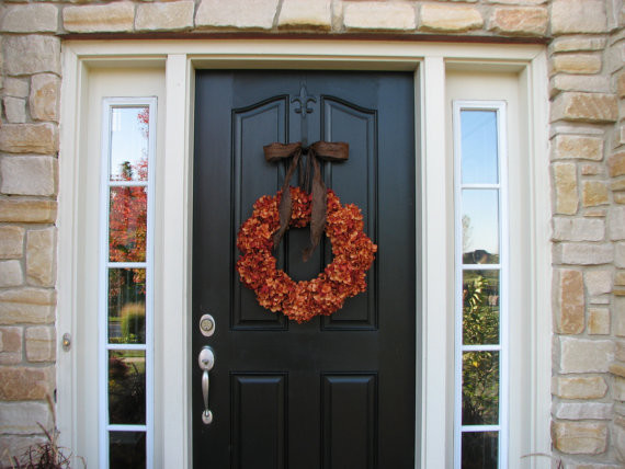 Hydrangea Wreath Spaces Traditional with Autumn Wreaths Decorating for Fall Doorway Entry Doors Fall Fall Decorating Fall