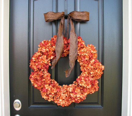 Hydrangea Wreath Spaces Traditional with Autumn Decor Autumn Wreaths Fall Front Doors Fall Wedding Decor Fall Weddings