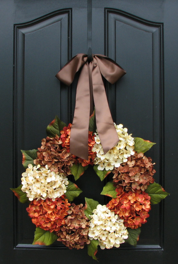 Hydrangea Wreath Spaces Traditional with Autumn Front Doors Autumn Wreaths Door Wreaths Fall Colors Fall Decor Fall
