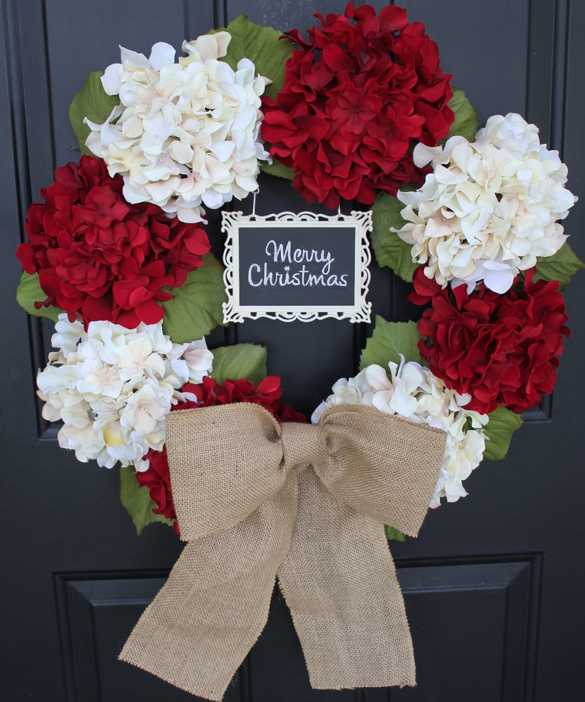 Hydrangea Wreath Spaces Traditional with Chalkboard Frame Christmas Decor Christmas Decorations Christmas Wreath Decorating Door Decor Doors