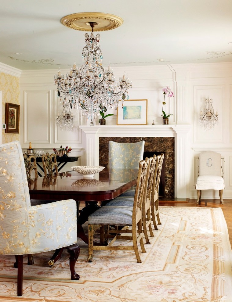 Ijoy Massage Chair Dining Room Traditional with Ceiling Medallion Chippendale Dining Chair Crystal Chandelier Crystal Sconce Fireplace French Gold