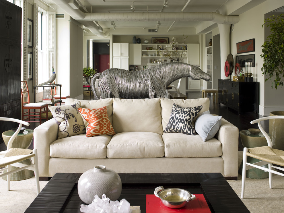 Ikat Pillows Living Room Eclectic with Animal Sculpture Area Rug Decorative Pillows Exposed Ductwork Great Room Horse Sculpture