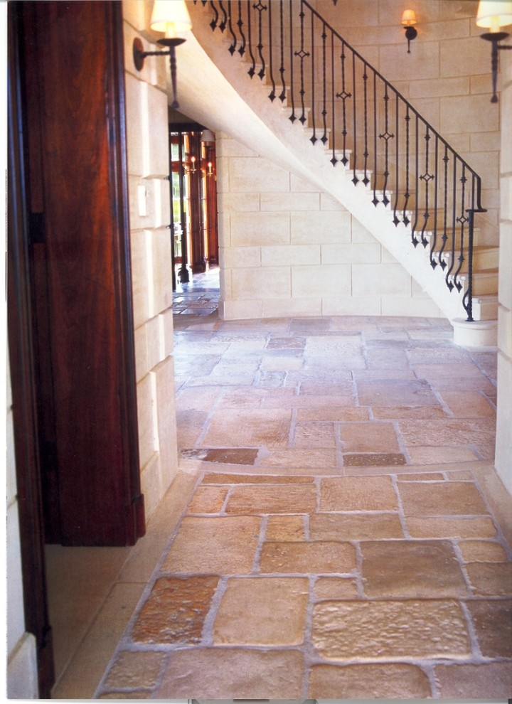 Ikat Rug Hall Mediterranean with Antique French Limestone Patina Reclaimed Staircase Stairs Steps Textured