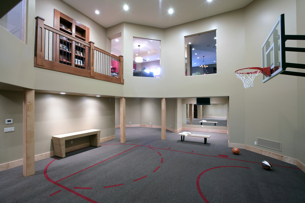 indoor basketball hoop Home Gym Contemporary with balcony basketball beige bench seat carpeting console loft ceiling posts recessed lights