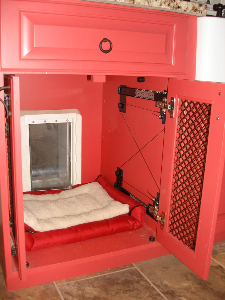 indoor dog kennels Entry Traditional with Dog door cabinet entrance red cabinets