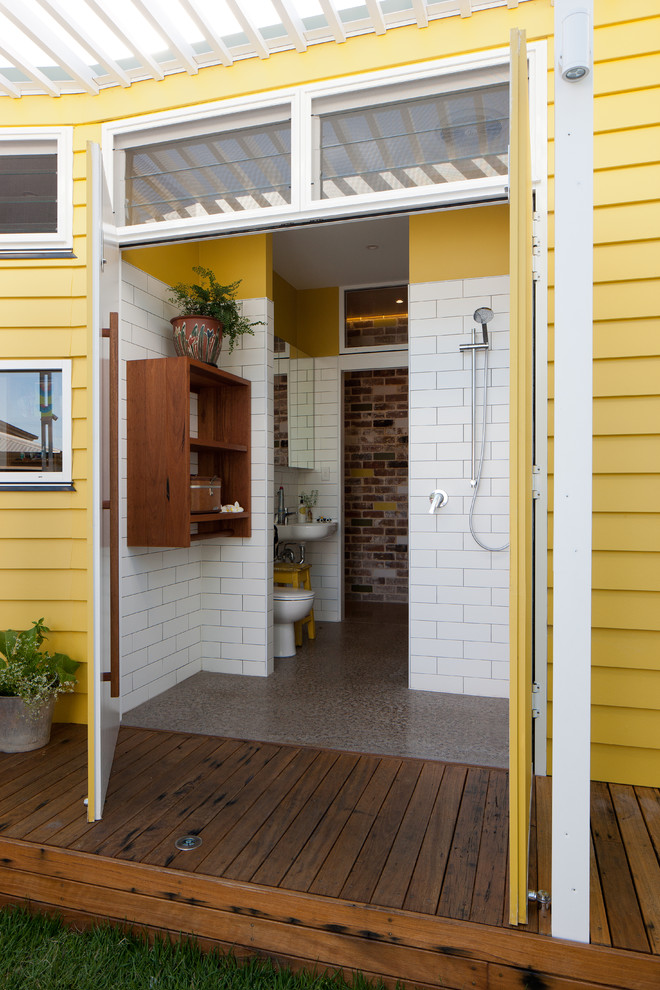 Indoor Outdoor Thermometers Bathroom Eclectic with Brick Wall Connection to Outdoors Custom Joinery Deck Double Doors Exposed Brick