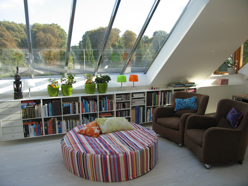 Indoor Plant Pots Family Room Contemporary with Armchair Bold Colors Bookcase Bookshelves Bright Colors Built in Shelves Container Plants