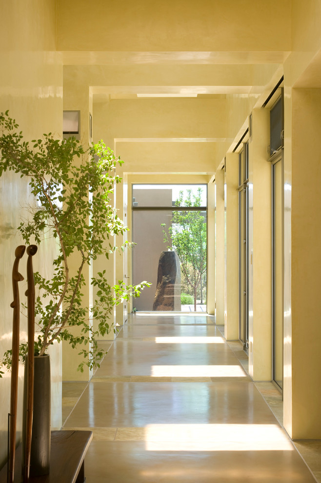 Indoor Plant Pots Hall Contemporary with Bench Clerestory Windows Open Doorways Potted Plans