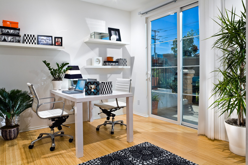 Indoor Plant Pots Home Office Contemporary with Area Rug Black and White Casters Computer Desk Desk Floating Shelves Indoor