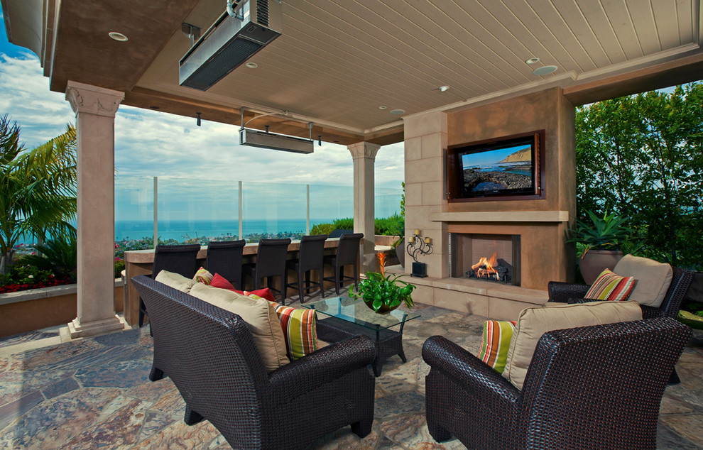 indoor propane heaters Patio Contemporary with columns counter counter stools covered patio cushions Fireplace floor treatment glass coffee