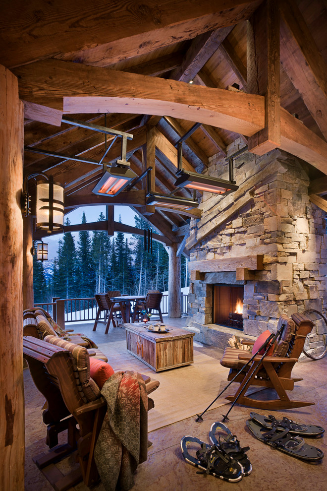 indoor propane heaters Patio Rustic with ceiling heaters chest covered patio Fireplace lodge outdoor heating Patio pine trees