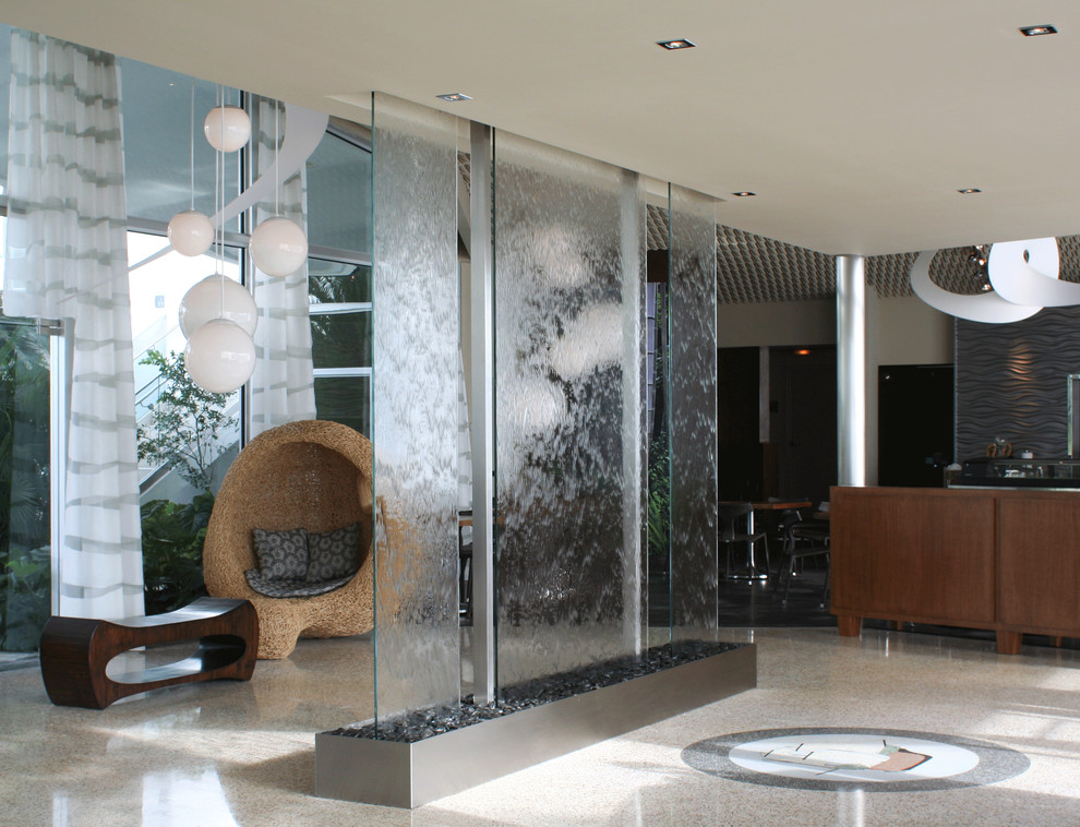 Indoor Water Fountains Entry Modern with Custom Design Indoor Fountains River Rock Water Wall