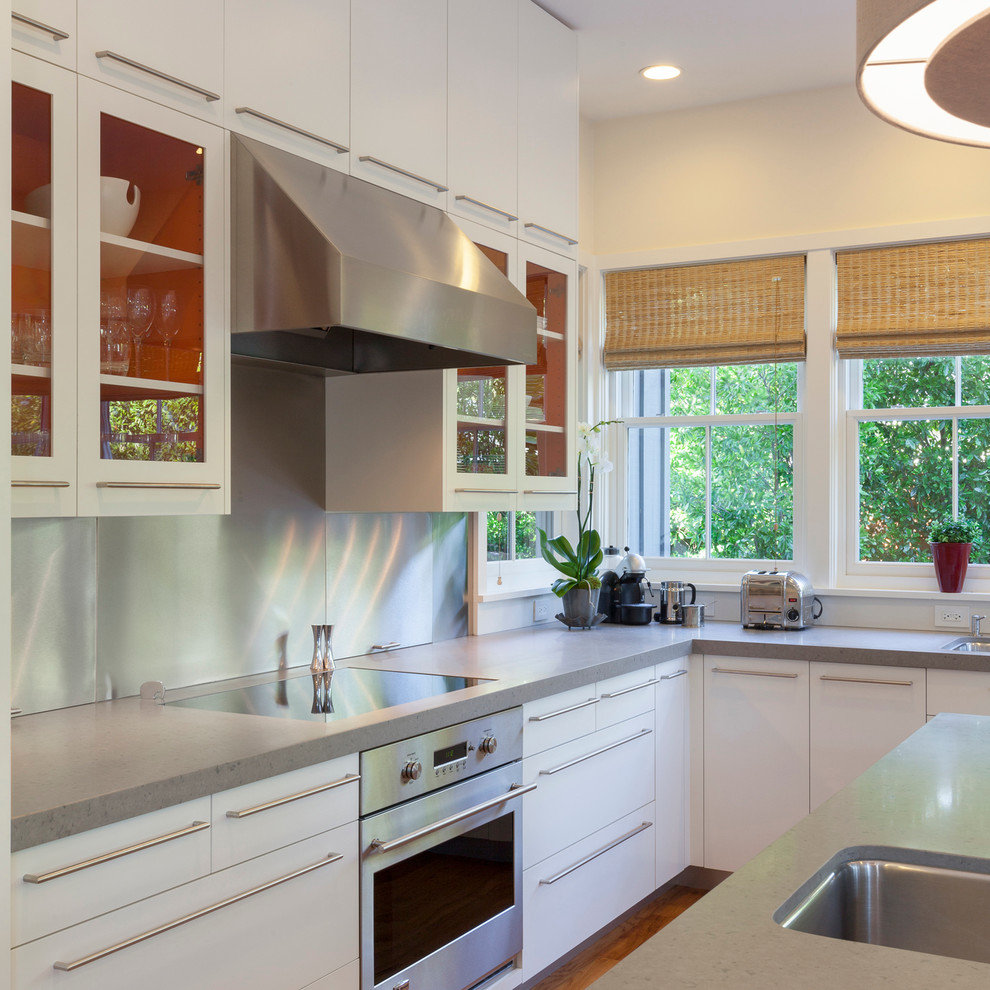 induction cooktop portable Kitchen Contemporary with appliance garage backsplash Caesarstone quartz countertops cooktop Custom Cabinetry custom hardware European-style