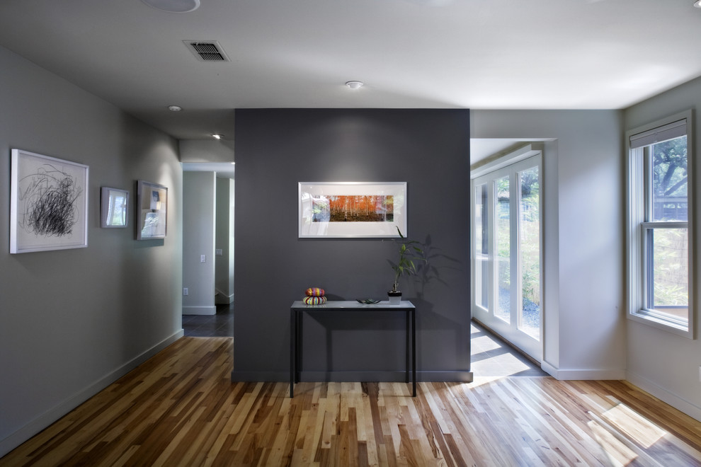 Indusparquet Living Room Contemporary with Accent Wall Baseboards Ceiling Lighting Grey Walls Neutral Colors Recessed Lighting Wall