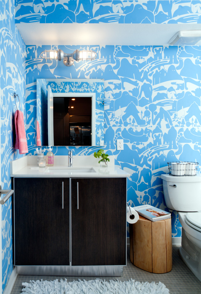 Industrial Wall Sconce Bathroom Eclectic with Bathroom Blue and White Patterned Wallpaper Blue and White Wallpaper Brown Vanity