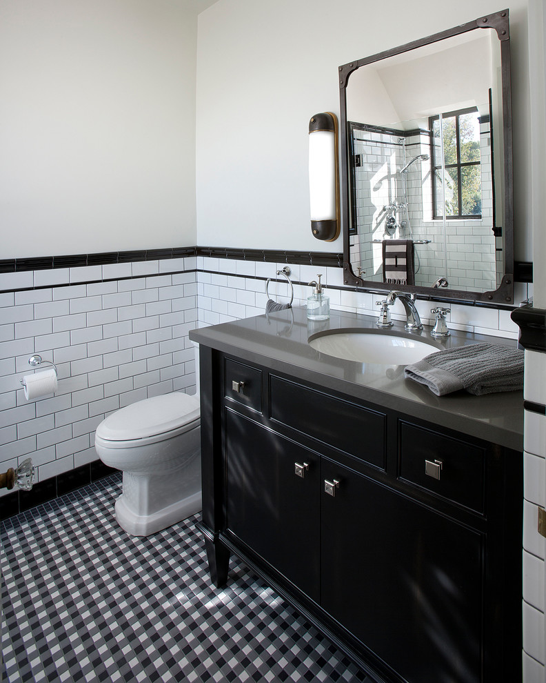 Industrial Wall Sconce Bathroom Traditional with Black and White Tile Gray Countertop Industrial Mirror Industrial Wall Sconce Metal
