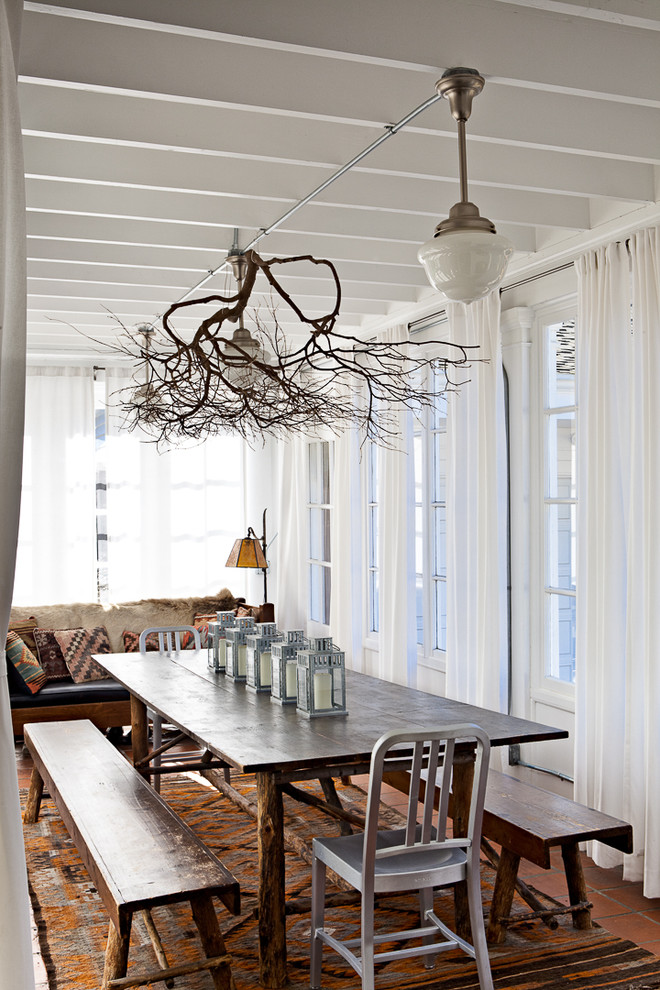 inexpensive chandeliers Dining Room Contemporary with decorative branch long rug metal chair rustic bench rustic dining table sheer