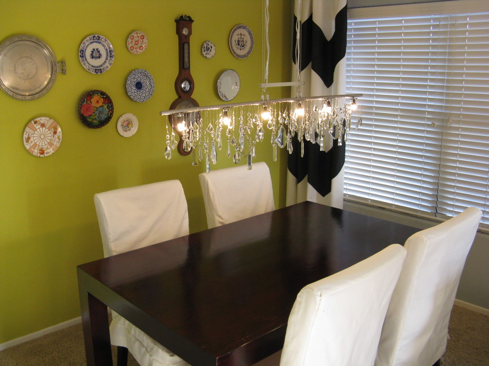 Inexpensive Chandeliers Dining Room Eclectic with None