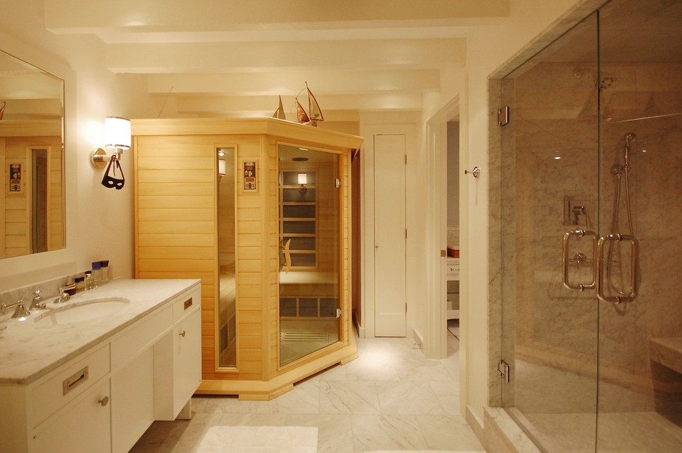 Infrared Sauna Reviews Bathroom Beach with Exposed Beams Glass Shower Doors Marble Marble Countertops Neutral Colors Sauna Sconce