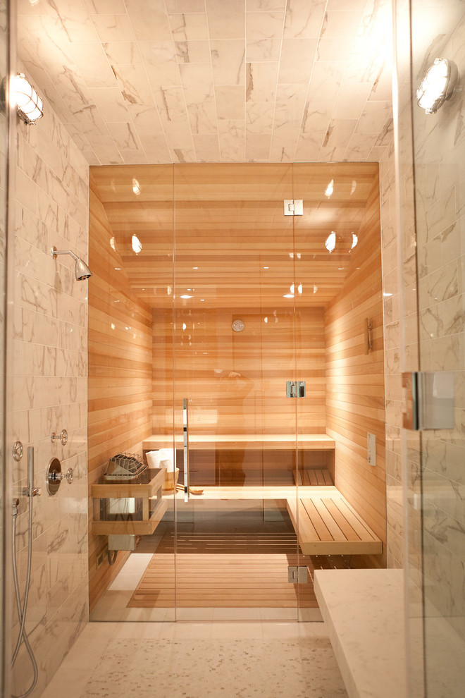 Infrared Sauna Reviews Bathroom Contemporary with Bathroom Bench Frameless Shower Door Industrial Sconce Minimal Neutral Colors Sauna Shower