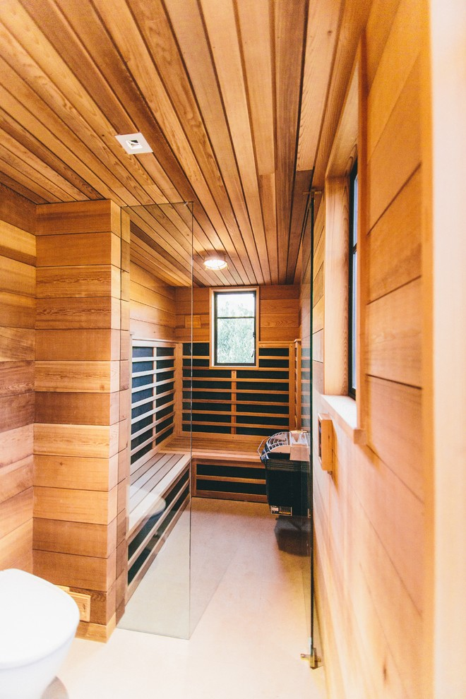 Infrared Sauna Reviews Spaces Contemporary with Built in Bench Ceiling Light Curbless Steam Room Wood Ceiling Wood Slats