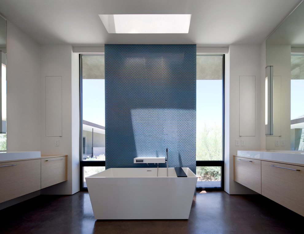 Interceramic Tile Bathroom Modern with Blue Accent Wall Blue Tile Custom Mirrors Dark Flooring Floating Vanity Floor