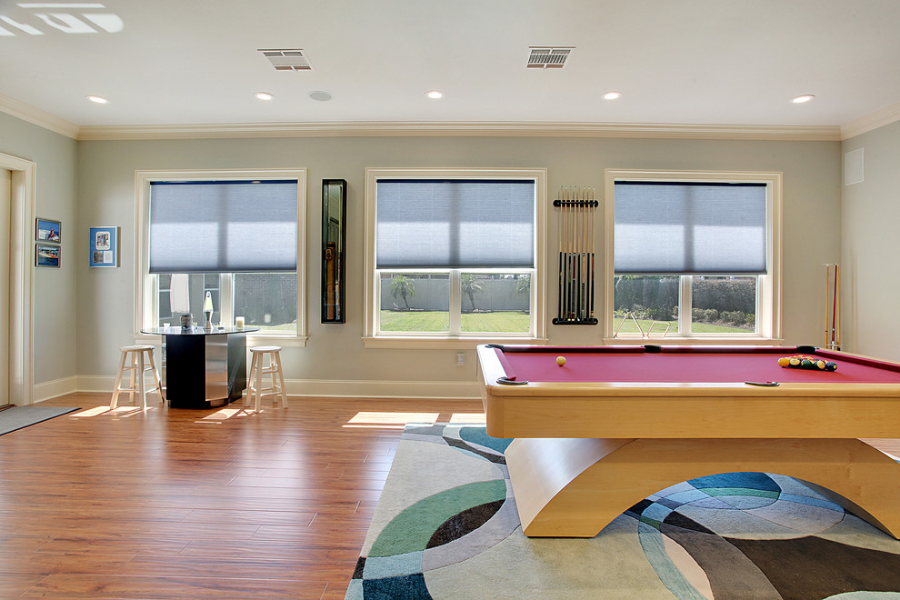 interceramic tile Family Room Contemporary with addition gameroom graphic area rug pool table recessed lighting
