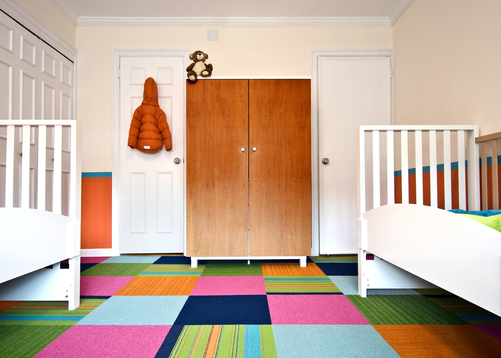 interlocking carpet tiles Kids Contemporary with armoire Bedroom bright colors carpet tiles closet crown molding minimal orange wall