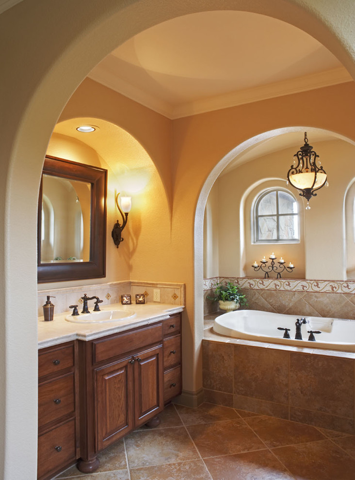 Iron Chandelier Bathroom Mediterranean with Accent Tiles Alcove Arch Windows Archway Bathroom Mirror Bowl Chandelier Candles Footed