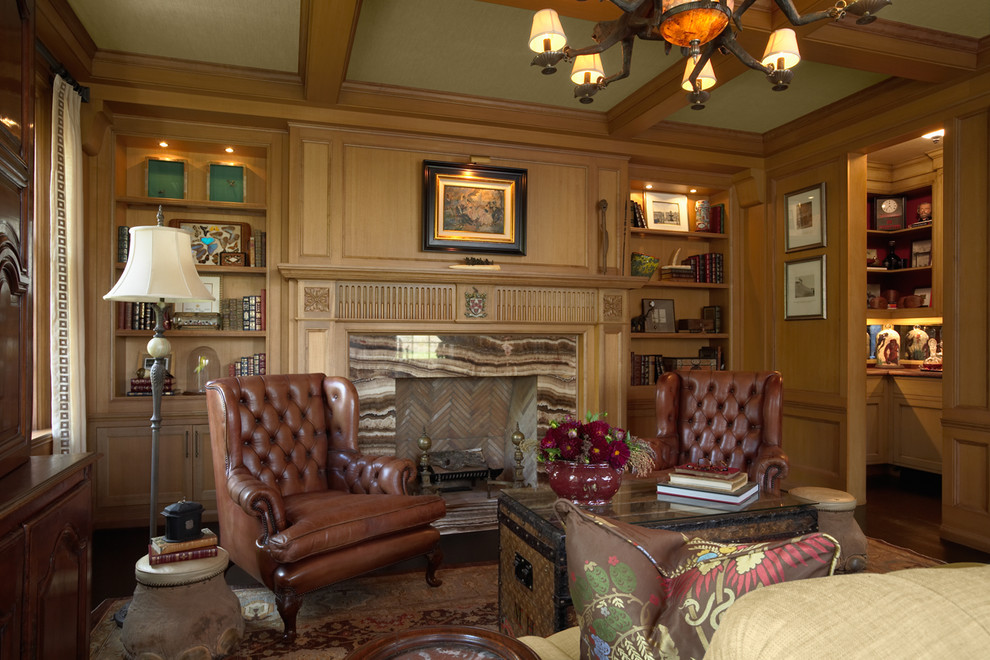Iron Chandelier Home Office Traditional with Area Rug Bar Bookcase Bookshelves Built in Shelves Ceiling Treatment Coffered Ceiling