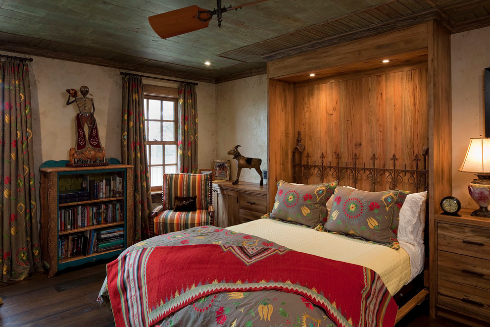 Iron Headboards Bedroom Rustic with Antiques Armchair Bedside Tables Built Ins Ceiling Fan Flex Room Murphy Bed Recliamed