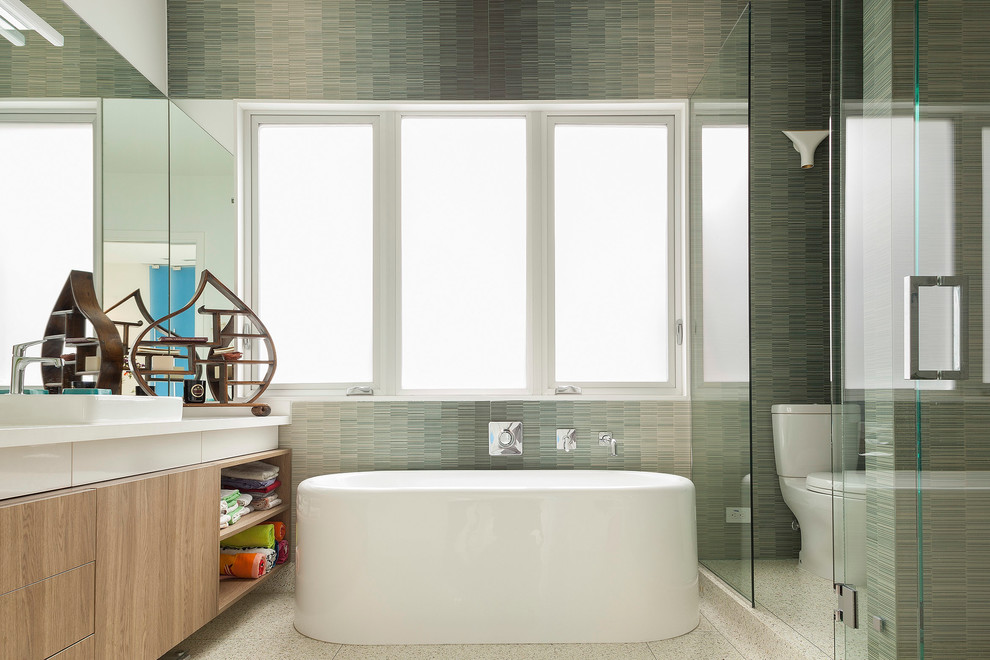 Ja Henckels Bathroom Modern with Freestanding Bath Glass Wall Light Wood Vanity Mirror Neutral Colors Open Shelves