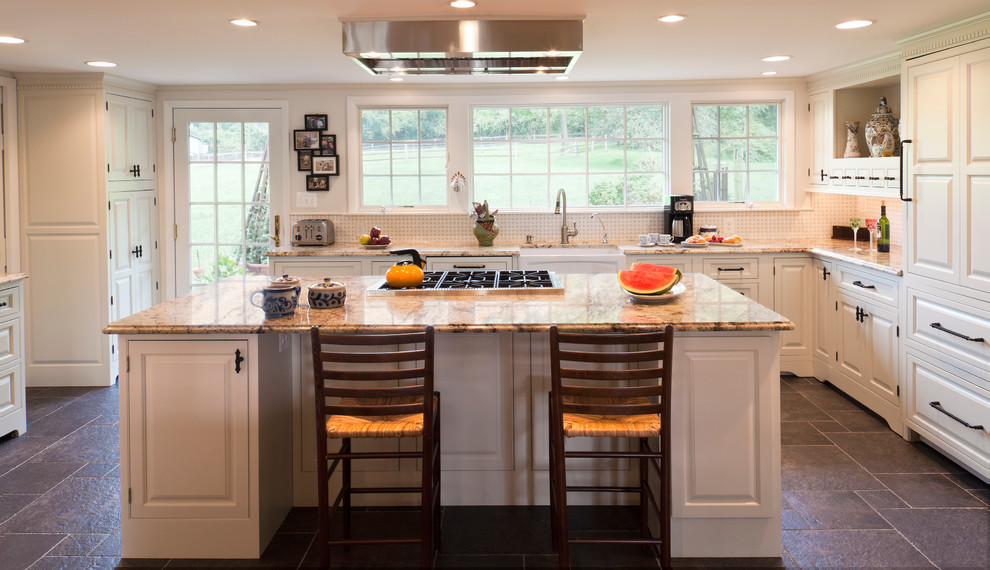 Ja Henckels Kitchen Farmhouse with Built in Hutch Builti in Book Shelf French Door Granite Island Seating