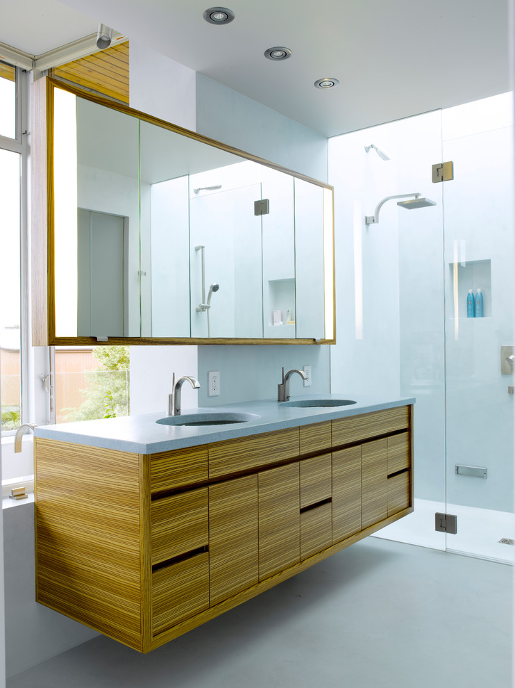 Jado Faucets Bathroom Modern with Cantilever Clear Glass Shower Door Floating Vanity Friday Harbor Architect Gray Counter